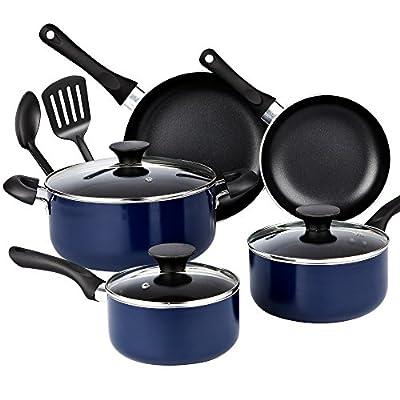 Cook N Home 10 Piece Non stick Black Soft handle Cookware Set,, Blue