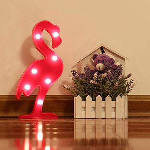 Jefferson Flamingo Lamp Decor Battery Operated Rose Flamingo Marquee LED Nightlight 7 LEDs Home Decoration LED Marquee Sign LED for Kids Baby Bedroom Gift Party Home Decorations (Rose, Flamingo) by Jefferson