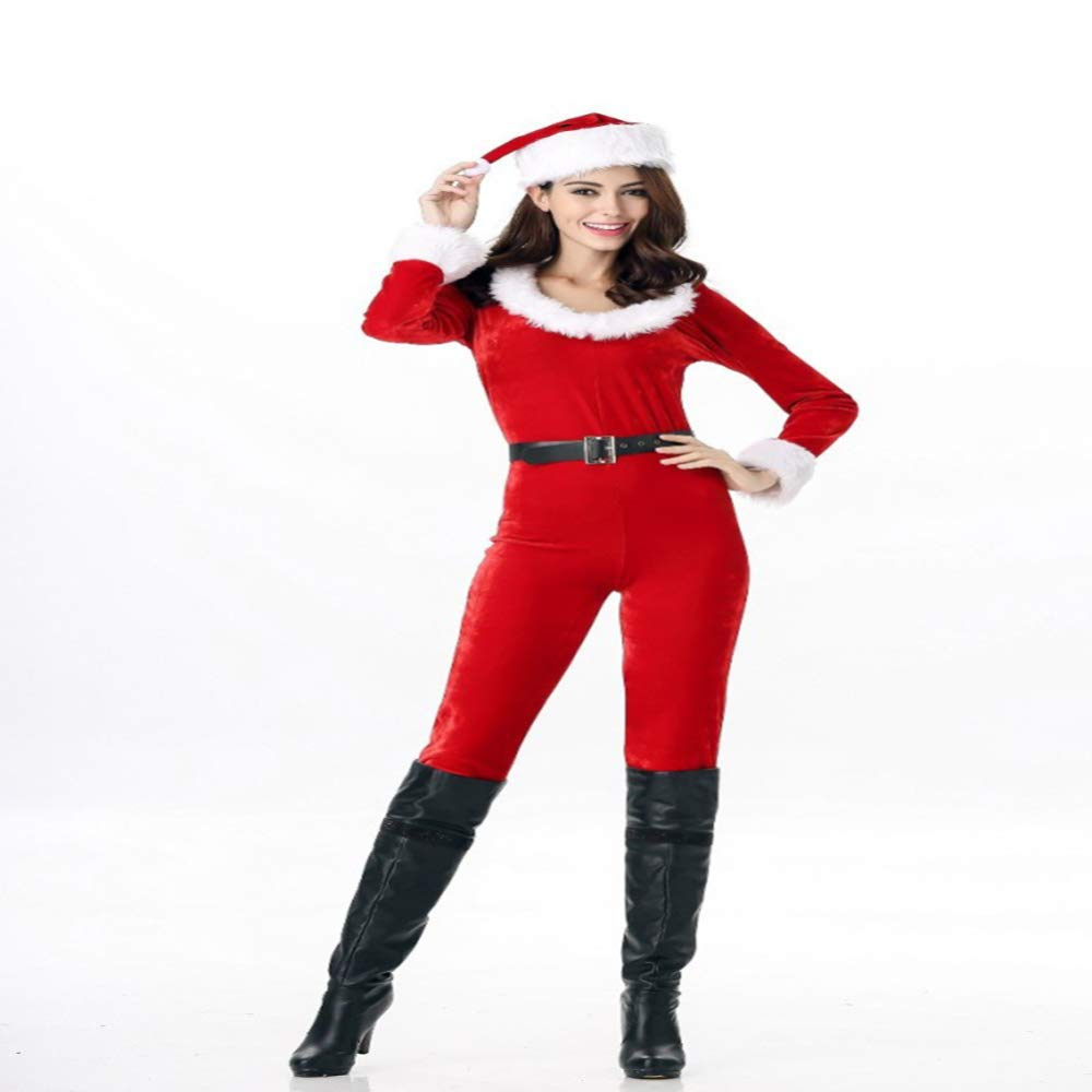 CVCCV New Siamese Siamese New Christmas Dress Frohe Weihnachten Neujahr Bühne Performance Uniform Polyester Stoff Für Frauen (Rot) fe0ebf