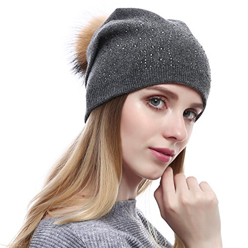 Queenfur Women Wool Beanie - Real Raccoon Fur PomPom Hat Winter Fashion Knit Cashmere Blend Hats With Rhinestones (Dark Grey)
