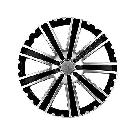 """Embellecedor de 15 """", color negro y plata diseño de TORO-Tapacubos 4"""