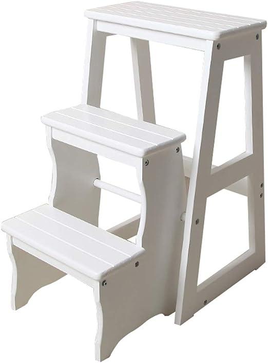 Escaleras Escalerillas Taburete Plegable Escalera de Madera Escalera de Mano de 3 Pasos Plegable y liviano para hogar Biblioteca desván Estantería de Escalera - Capacidad de 150 kg (Blanco): Amazon.es: Hogar