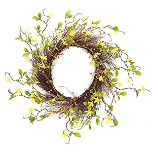 "Melrose International Twig Wreath with Yellow Wild Flowers, 28"" 53"