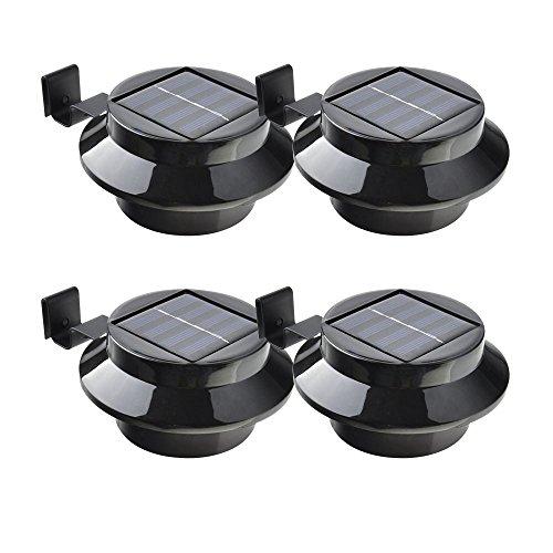 4 Pack Outdoor Solar Light 3 LED for Garden Fence Yard Wall Gutter Pathway Lamp Light Waterproof IP44 Black Shell White Light TARGOPOP