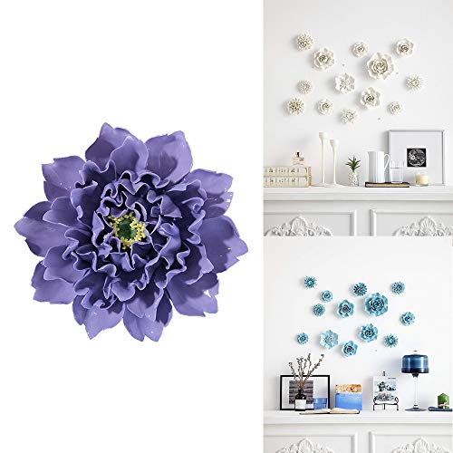 ALYCASO Artificial Flowers Wall Decoration for Living Room Bedroom Hanging 3D Wall Art Ceramic Flower Pediments Sculpture, Purple, 5.9 inch -