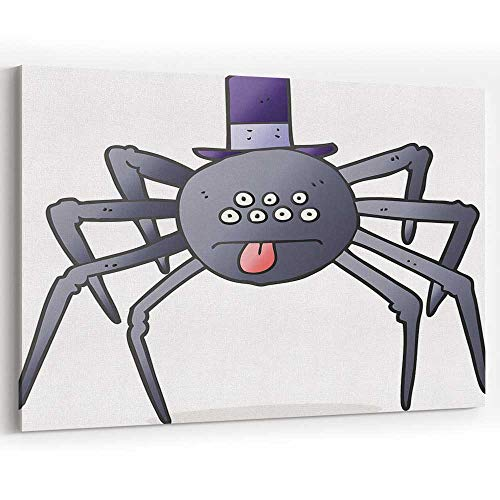 Actorstion Cartoon Halloween Spider in top hat 090000 Canvas Art Wall Dcor,18