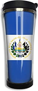 El Salvador Flag Double Wall Stainless Steel Mug Travel Tumbler with Lid 420ml Water Bottle Sealed Coffee Cup