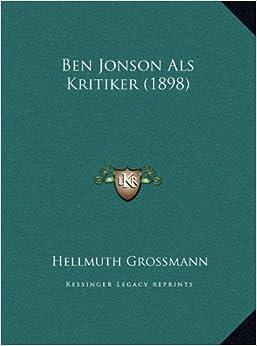 Book Ben Jonson ALS Kritiker (1898)
