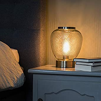 QAZQA Retro/Vintage Lámpara de mesa vintage esférica vidrio ...