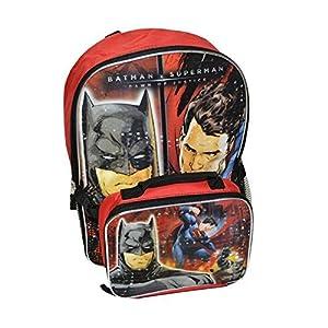 DC Comics Batman V Superman Boys Large Backpack With Lunch Bag