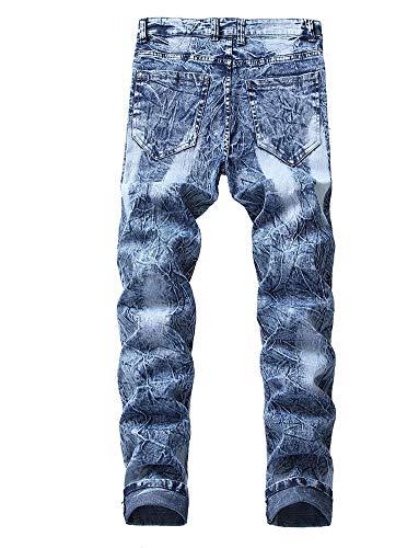 Vestibilità Jeans Vita Fori Maschi Elasticità Slim Blu Metà Pantaloni Blue Versaces Lavaggio Della xIq0wIZ