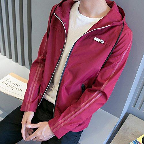 YLSZ-jacket La versión coreana del otoño hombres chaqueta Chaqueta chaqueta de abrigo hombre de moda de la juventud, los estudiantes en el otoño de thin, borgoña,M