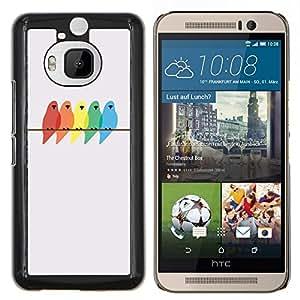 Colores Pájaros Pintura Abedul minimalista- Metal de aluminio y de plástico duro Caja del teléfono - Negro - HTC One M9+ / M9 Plus (Not M9)
