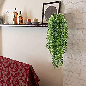 HO2NLE 2pcs Fake Hanging Plants Artificial Willow Leaves Faux Foliage Plastic Greenery Garland Wall Porch Patio Arch Balcony Basket Garden Party Wedding Decorations 4