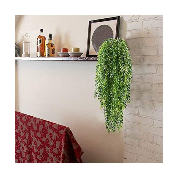 HO2NLE-2pcs-Fake-Hanging-Plants-Artificial-Willow-Leaves-Faux-Foliage-Plastic-Greenery-Garland-Wall-Porch-Patio-Arch-Balcony-Basket-Garden-Party-Wedding-Decorations