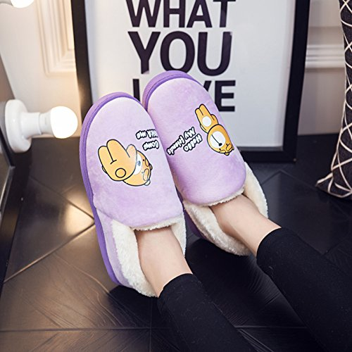 Chaussures peluche d'hiver 38 mètres Cotton 3738 Hommes antiglisse LaxBa Slipper intérieur chauds Padded 39 Chaussons Violet Femmes gqCxnwPA