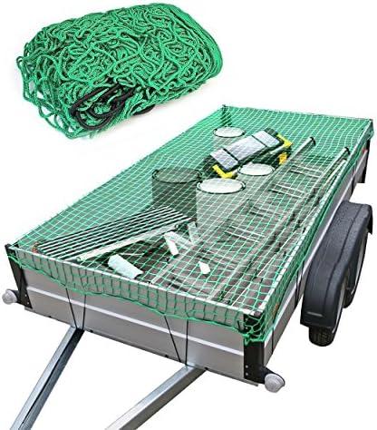 Oramics Anhängernetz Gepäcknetz Für Anhänger 2 X 3 Meter Reißfestes Dehnbares Nylon In Grün Sicherungsnetz Ladungssicherungsnetz Sicherung Für Pkw Anhänger Auto