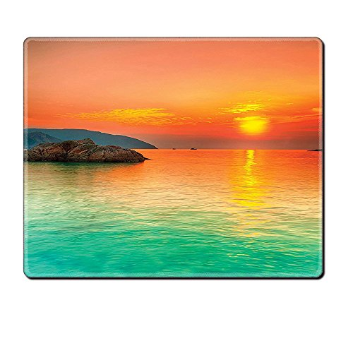 Mouse Pad Unique Custom Printed Mousepad Nature Decor Collection Sunset Over The Sea Con Dao Vietnam Golden Sunlights Colorful Sky Reflection On Water Picture Teal Peach Stitched Edge Non Slip (Minecraft Halloween Vietnam)