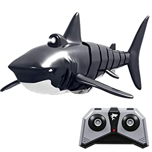 RC Shark Boat Toy with LED Light, 2.4G Remote Control Electronic Fish Simulation Animal Water Toys 4 Channel RC Ships for Swimming Pool, Bathroom and Lake - Ideal Summer Gift for Children