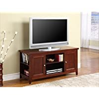 InRoom Designs E1034 Kings Brand Finish Wood TV Stand Entertainment Center with Storage, Walnut