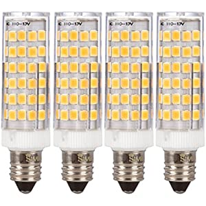 [4 Pack] Simba Lighting LED E11 6W 500lm 76SMD2835 Corn Light Bulb 50W Halogen Replacement 120V for Chandeliers, Cabinet Lighting, Mini-Candelabra Base, Soft White 3000K Dimmable