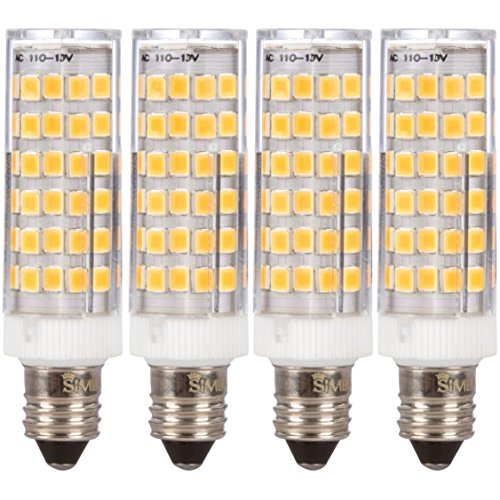 Simba Lighting LED E11 T4 Mini-Candelabra Light Bulb 5W 40W to 50W Halogen Replacement (4 Pack) 76SMD2835 Corn JDE11 120V for Chandeliers, Sconce, Cabinet Lighting, Soft White 3000K, Dimmable
