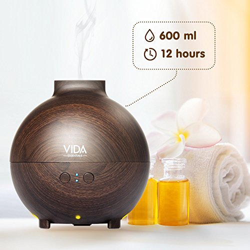 Extra Large Essential Oil Diffuser Holds a Big 20 FL OZ / 600 ml. Lasts All Night, Very Quiet. Mist Humidifier Aromatherapy Machine for Office Home Bedroom Study Yoga Spa (Dark Brown). … by Vida Essentials (Image #3)