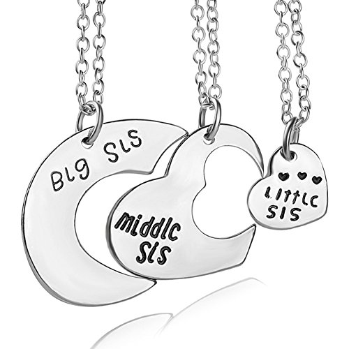 es Heart Keychain Set Big Sis Middle Lil Sister Love Forever Necklace (Silver Sister Necklace) ()