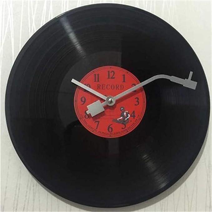 reloj de pared Disco de Vinilo DIY Retro Relojes clásicos Redondos Arte Relojes Simples para Sala de Estar Dormitorio Bar Restaurante (Color : A): ...
