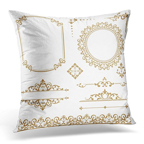 "Emvency Throw Pillow Covers Royal Vintage Floral Monograms Frames Menus and Labels Graphic Design of The Cafes Boutiques Hotels Gold Decorative Pillow Case Home Decor Square 20"" x 20"" Pillowcase"