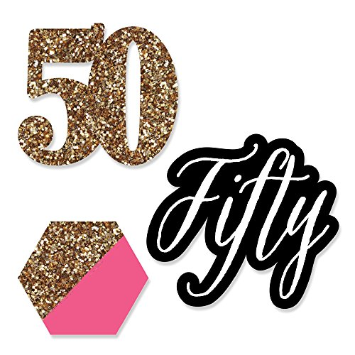 Big Dot of Happiness Chic 50th Birthday - Pink, Black and Gold - DIY Shaped Party Cut-Outs - 24 Count