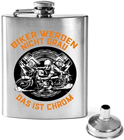 KMC Austria Design Flachmann Bedruckt anstelle Gravur - für Biker und Motorradfreund - Biker Werden Nicht Grau - das ist Chrom