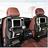 K&K Back Seat Car Organizer Backrest Protection Car Seat Organizer PU Leather – Protective Car Seat Back Organiser Kick Mats 7 Separate Compartments (Double)