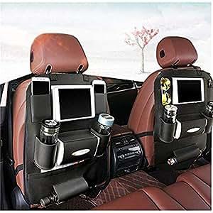 K&K Back seat car Organizer Backrest Protection Car Seat Organizer PU Leather ? Protective Car Seat Back Organiser Kick Mats 7 Separate Compartments (Single)