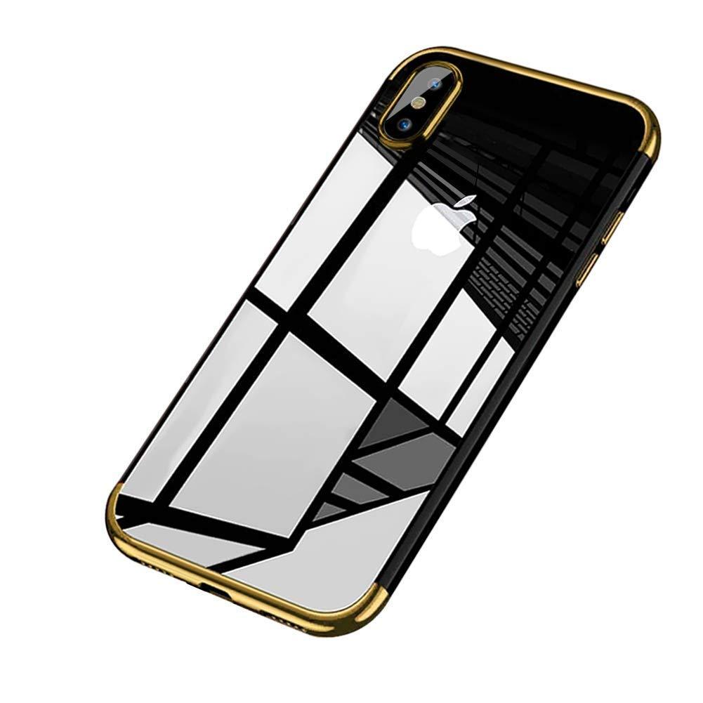 Coque pour iPhone XR,Coque iPhone XR Silicone, Uposao Souple Housse iPhone XR TPU Bumper Case Silicone Gel Transaparent + Métal Cadre Paillette Brillant Plaqué Coque Solide pour iPhone XR, Liquid Crystal Ultra Mince Premium Rigide Ultra Hybri