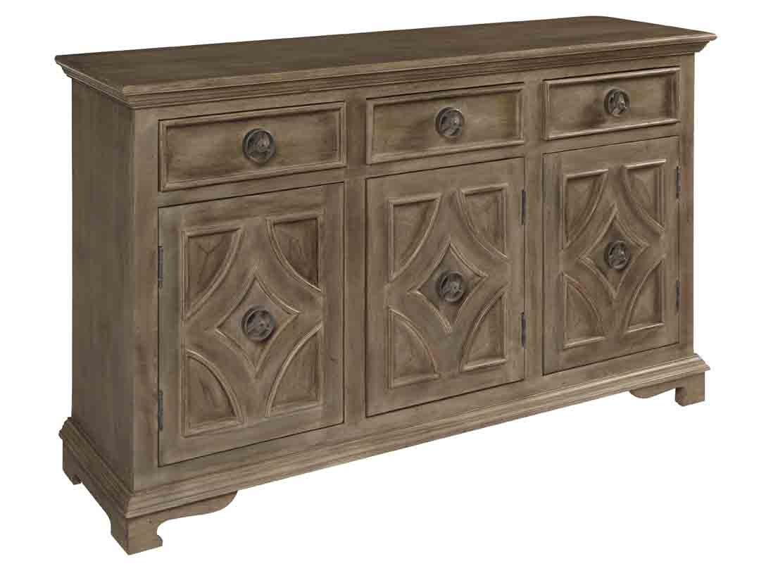 Treasure Trove Accents Drawer Three Door Sideboard Smoke Grey by Treasure Trove Accents
