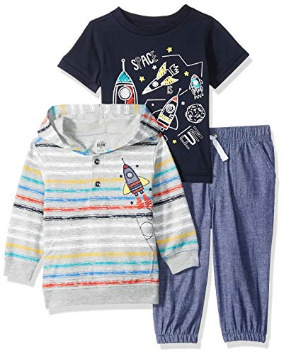 Kids Headquarters Baby Boys 3 Pieces Hooded Pants Set, Gray/Blue 18M