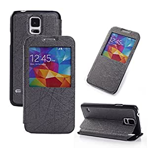 VAMVAZ Black Fashion Wire Lines Pattern Window Magnetic PU Leather Flip Stand Case Cover Skin For Samsung Galaxy S5 V i9600