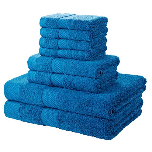 SEMAXE 700 GSM Bath Towels, 8-Piece Towel Set 100% Made of Cotton Super Absorbent Fade-Resistant (Blue)