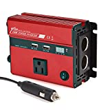 UFire Upgraded 350W Power Inverter DC 12V to 110V AC Car Converter with Smart Digital Display, AC Outlet + Dual USB Charging Ports and Car Cigarette Lighter Sockets -Red