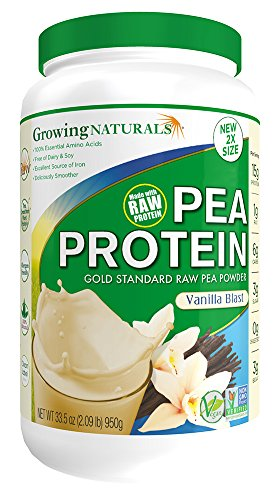 Growing Naturals Pea Protein Powder, Vanilla Blast, 33.5 Ounce