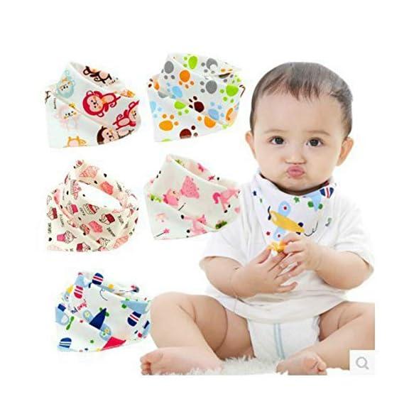 BabyGo Cotton Soft Double Layer Adjustable Feeding Baby Bandana Bib Apron - Set of 3 (Random Color)