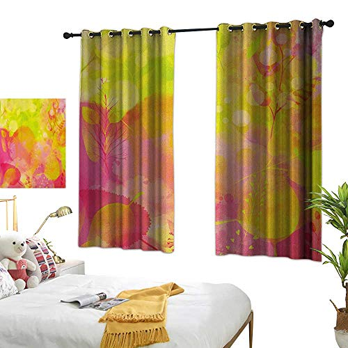 (Bedroom Curtains W72 x L45 Pastel,Nature Inspired Watercolor Paintbrush Spring Yard Psychedelic Artwork, Pink Apple Green Marigold Darkening Bedroom Living)