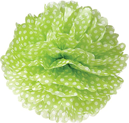 Luna Bazaar Tissue Paper Pom Pom (15-Inch, Chartreuse Green with Polka Dots) - For Baby Showers, Nurseries, and Parties - Hanging Paper Flower Decorations