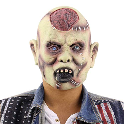 Zombie Brains Adult Latex Mask Halloween Novelty Full Over The Head mask Scary Horror mask Men's -