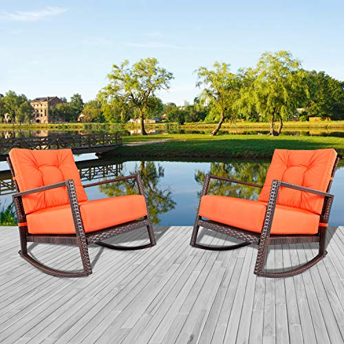 (ncbruce Outdoor Wicker Rocking Chair 2 Piece with Orange Cushions | Metal Frame PE Rattan Patio Chair Furniture Sets Perfect for Pool, Front Porch, Balcony, Garden, Backyard)