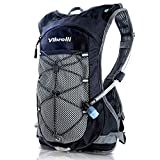 Vibrelli Hydration Backpack & 2L Hydration Bladder - High Flow Bite Valve Hydration Pack - Black