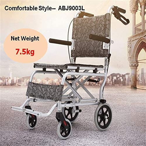 Tragbarer ultraleichter Trolley für ältere Menschen aus Aluminiumlegierung. Hochwertiger, ultraleichter, Verstellbarer manueller Rollstuhl für Behinderte