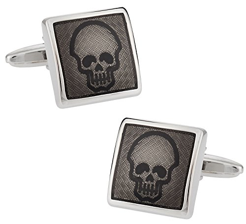 Designer Diamond Cufflinks (Cuff-Daddy Diamond Plate Skull Cufflinks with Presentation Box)