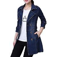 Zantt Women's Washed Denim Plus Size Double Breasted Windbreaker Jacket Coat
